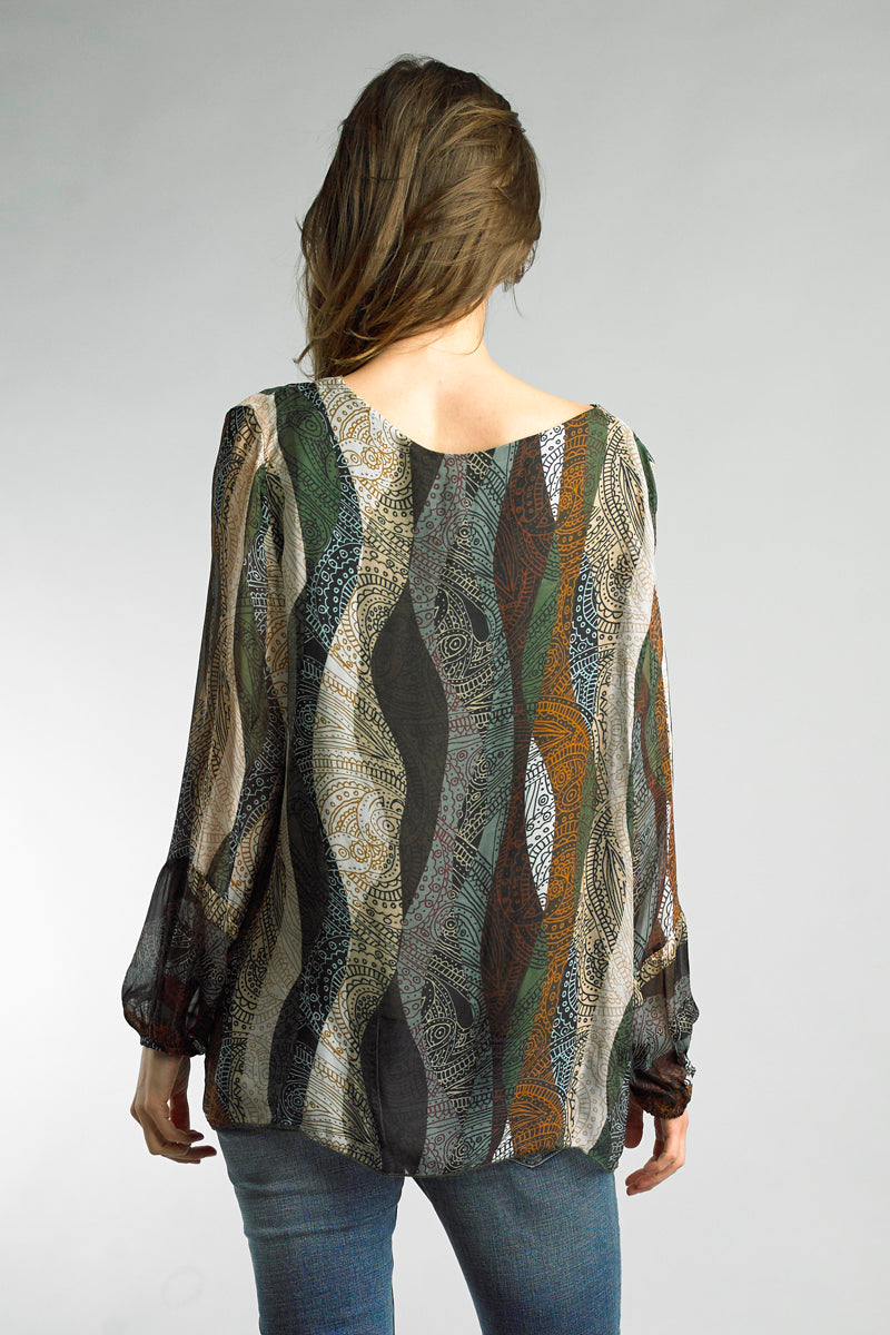 Double Layer Paisley Top back