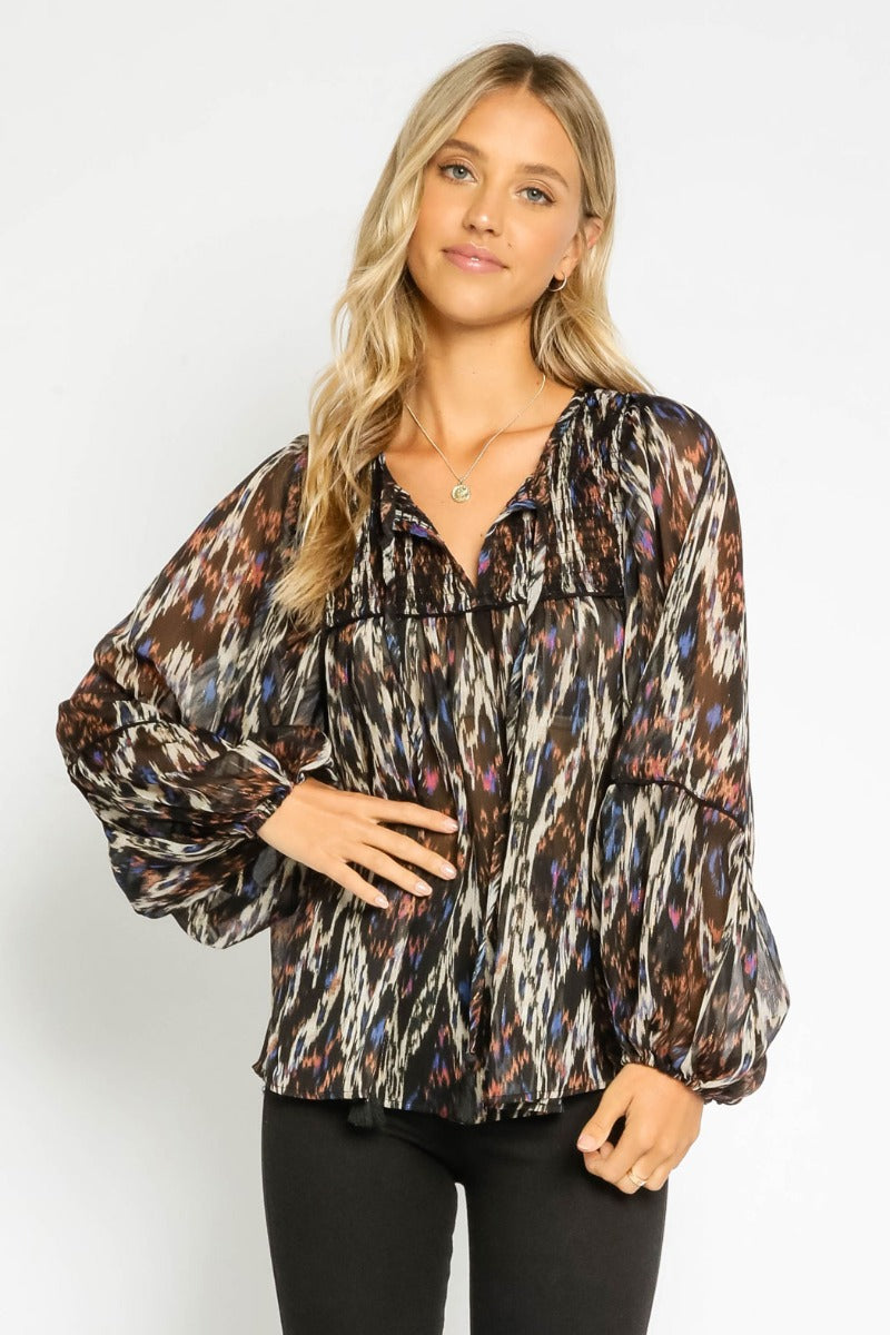 Sheer Peasant Blouse with Balloon Sleeves
