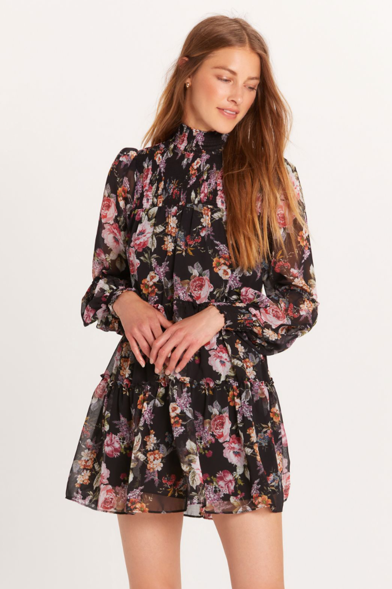 LAST CALL SIZE M | Black Floral Print Dress