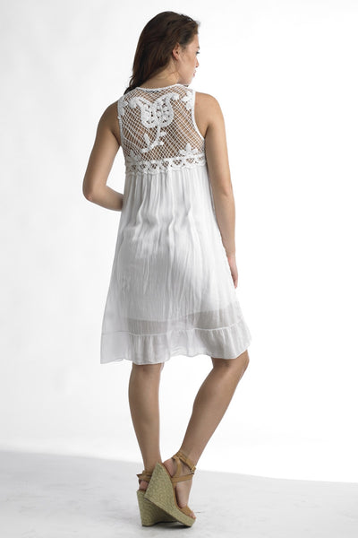 LAST CALL - Size L | Rosette Crochet Dress in White