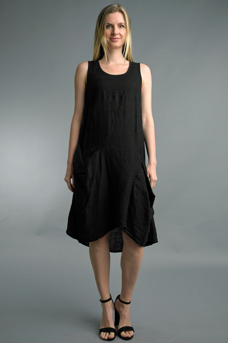 Sleeveless Linen Dress in Black