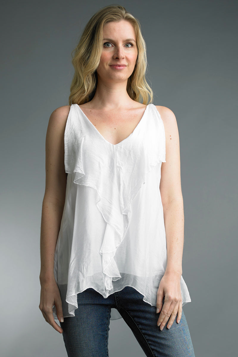 Draped Sleeveless Silk Top in White