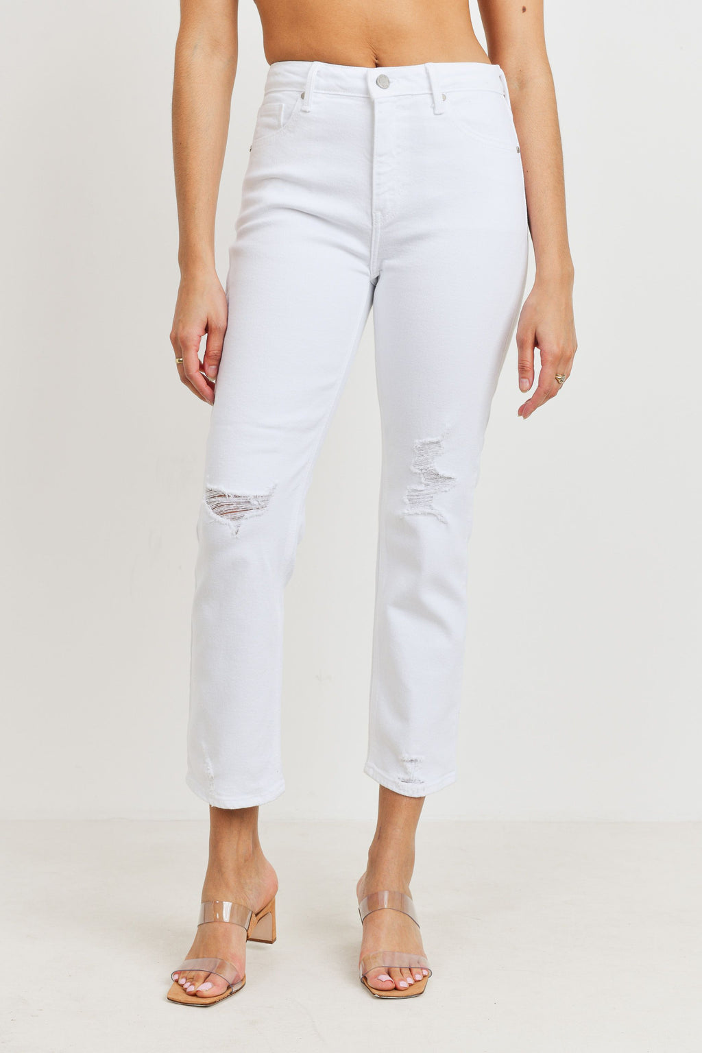 Distressed White Cropped Straight Leg Jeans