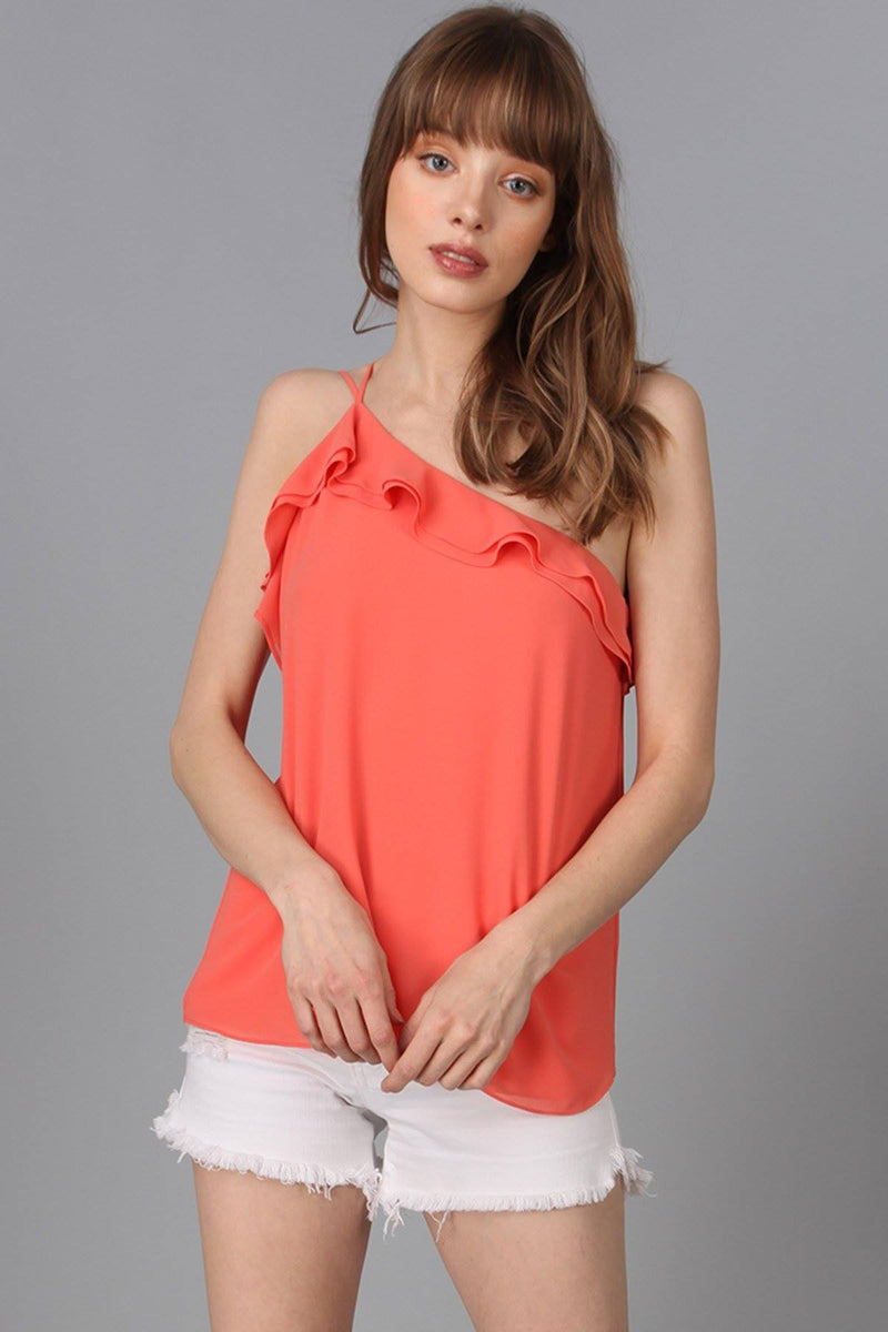 One Shoulder Ruffle Top in Salmon