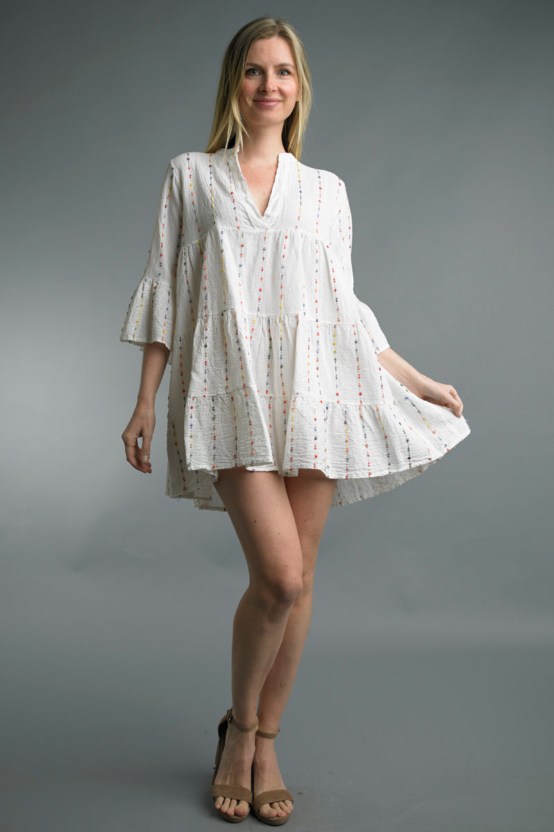 Color-Stitch Bohemian Peasant Dress in Off White
