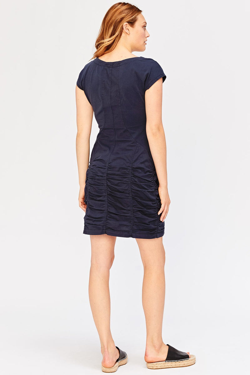 LAST CALL SIZE S | Short Sleeve Ruched Skirt Dress in Navy
