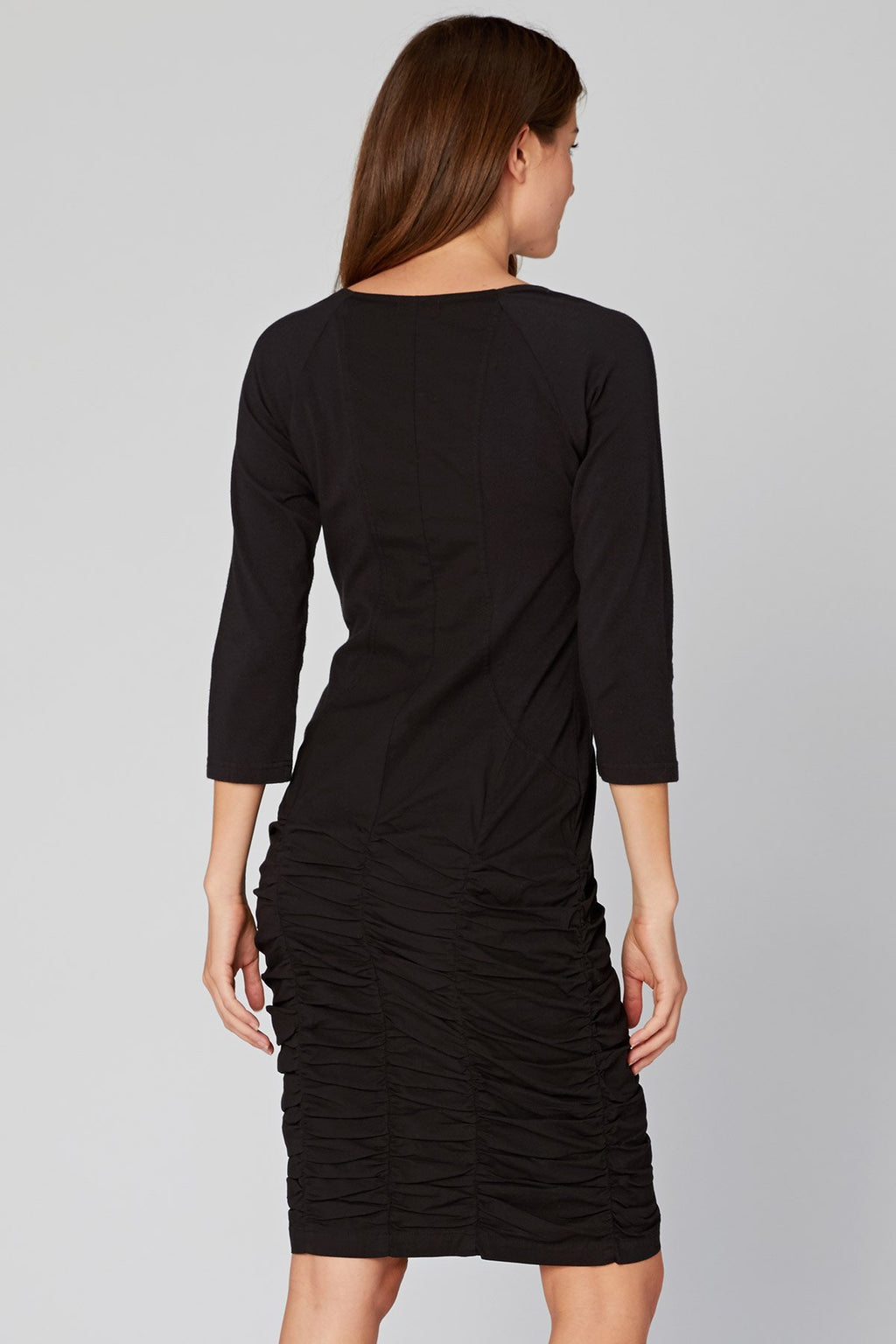 3/4 Sleeve Ruched Skirt Dress in Black