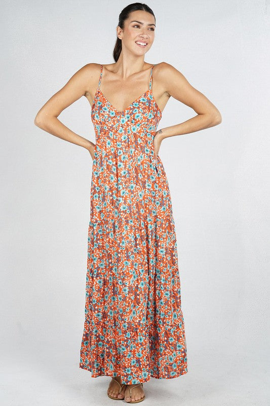 LAST CALL SIZE S | Floral Print Maxi Dress in Coral