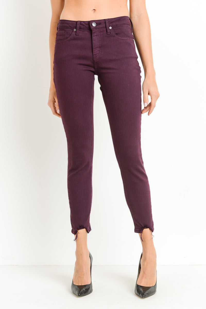 Maroon Skinny Jeans with Distressed Hem Front
