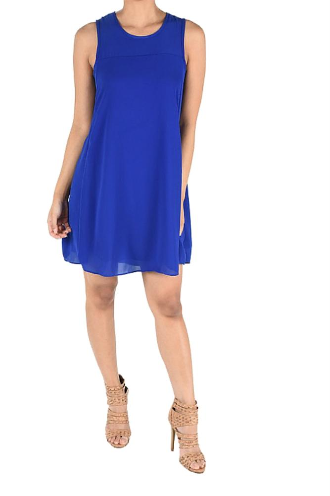 Crepe Trapeze Dress in Royal Blue