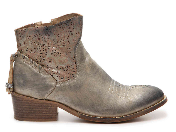 LAST CALL SIZE 6 // Vegan Leather Cowboy Booties in Gold Metallic