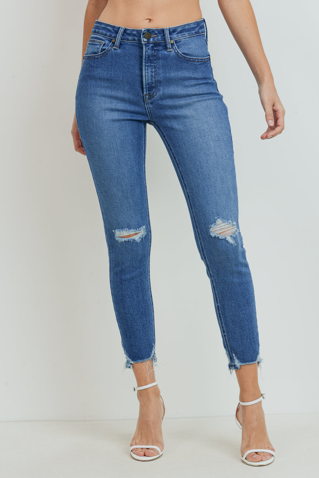 Distressed Medium Blue Ankle Skinny Jeans