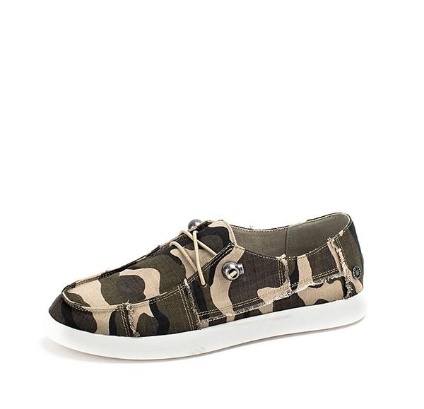 Camo Print Canvas Loafers
