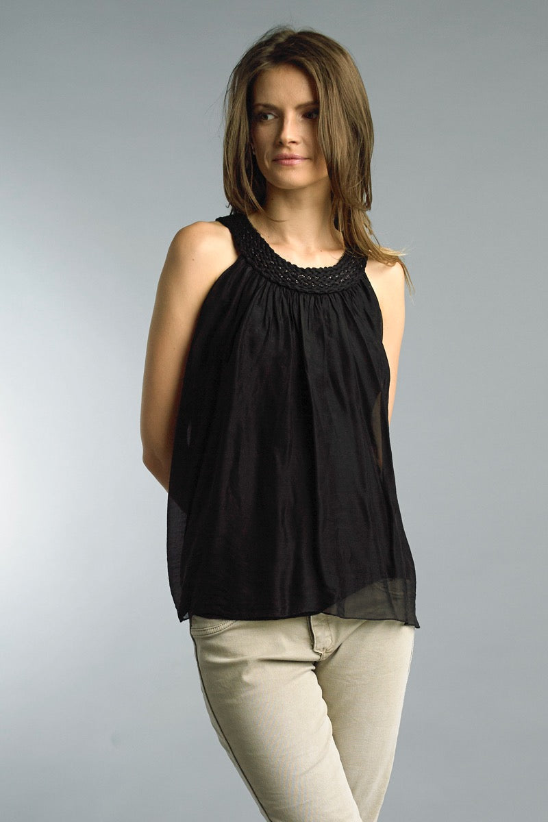 Braided Neck Sleeveless Top in Black