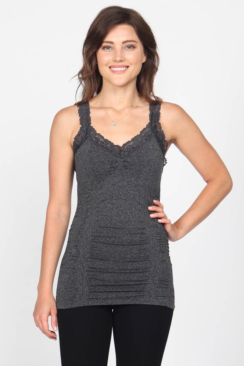 Ruched Lace Corset Cami in Heather Black