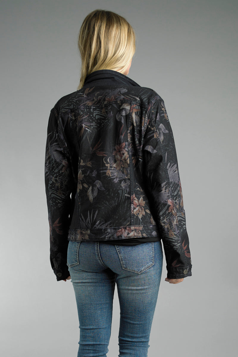 Reversible Jean Jacket in Dark Blue Floral