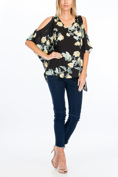 LAST CALL SIZE L / Yellow Flower Cold Shoulder Top