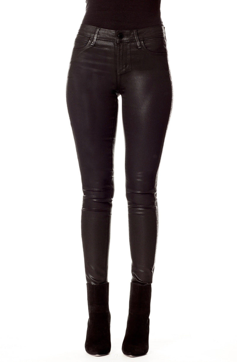 Black Coated Skinny Jeans with Rhinestone Racerstripe Front