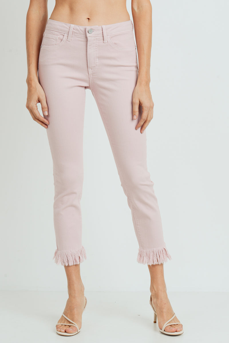 Cropped Skinny Jeans with Frayed Hem in Pastel Pink