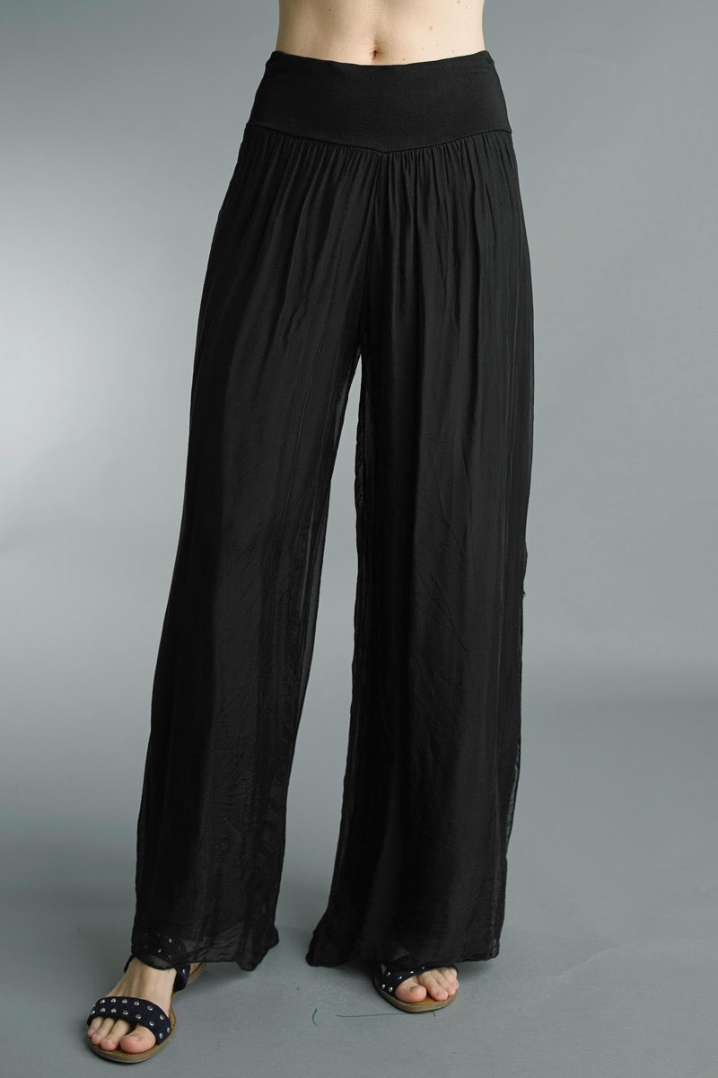 Silk Wide Leg Pants in Black