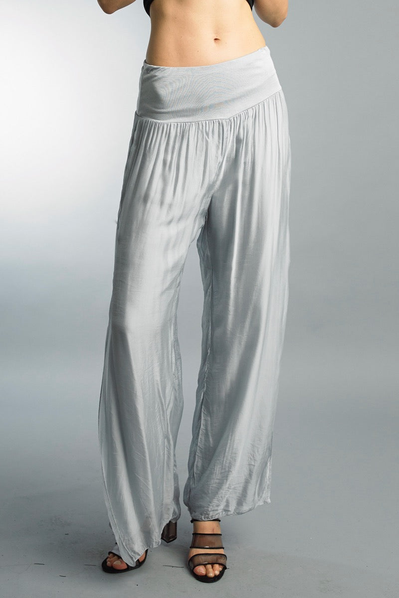 Silk Wide Leg Pants in Silver