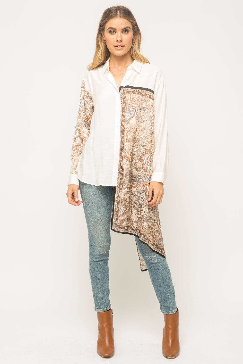 Scarf Inset Button Down Blouse