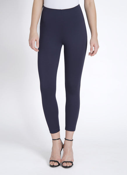Crop High Waist Legging w/Zip in Midnight