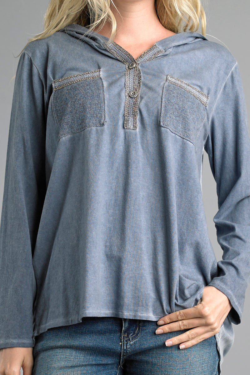 LAST CALL SIZE S | Blue Denim Wash Long Sleeve Hooded Top