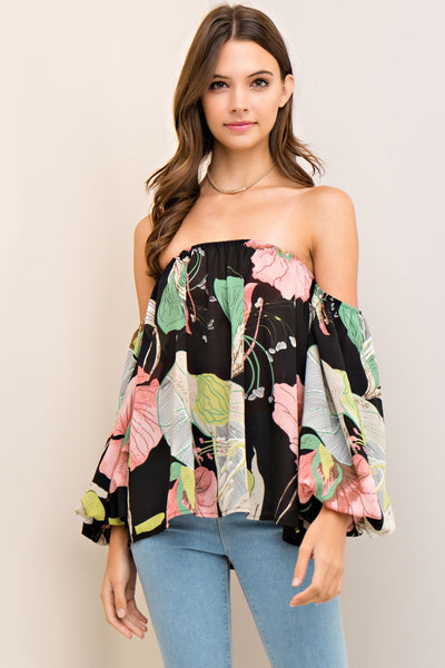 Drop Sleeve Floral Print Blouse