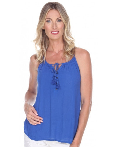 Sleeveless Cobalt Top with Tassel Tie