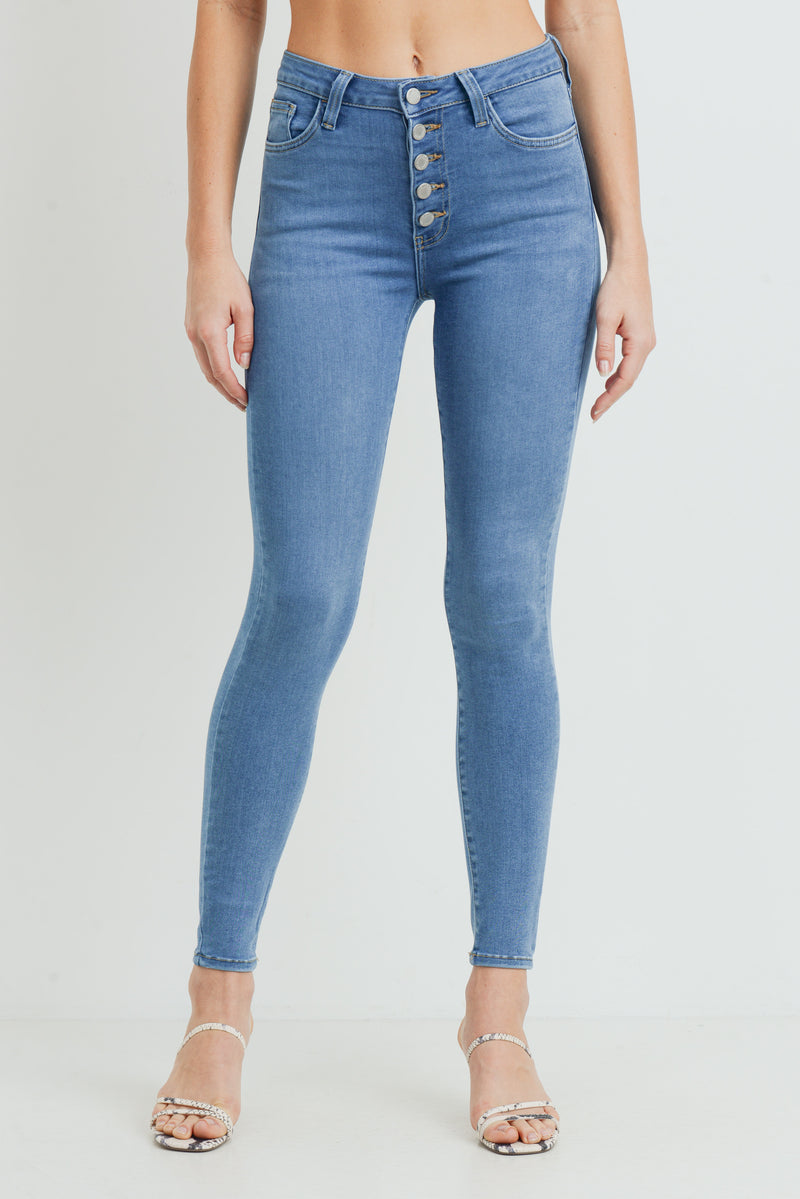 Button Down Buttery Soft Stretch Skinny Jeans in Light Wash