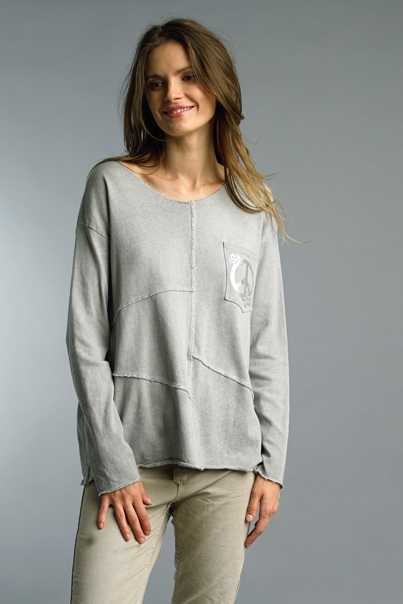 Peace Sign Long Sleeve Cotton T-Shirt in Silver