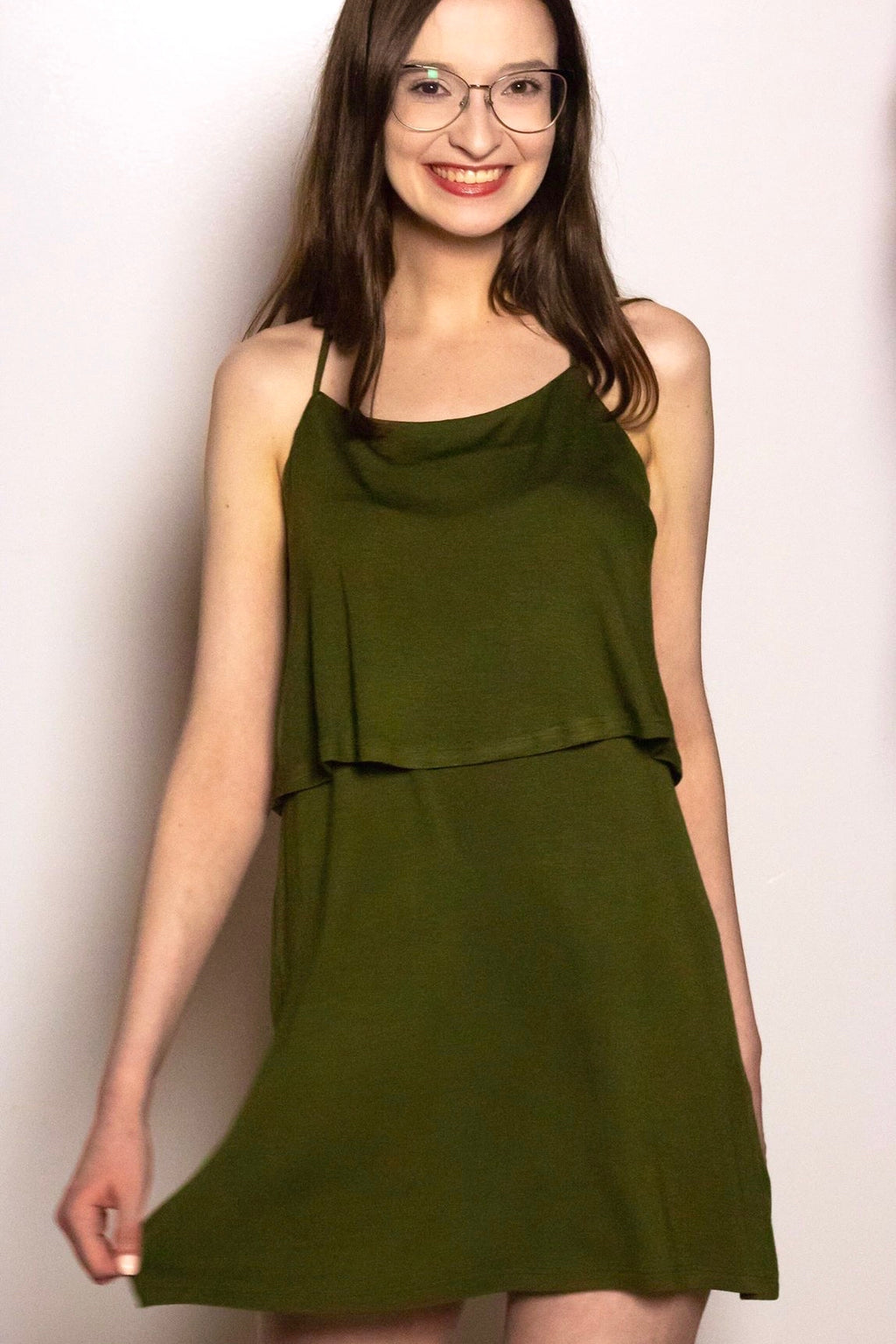 Tank Dress with O-Ring Back Detail in Olive