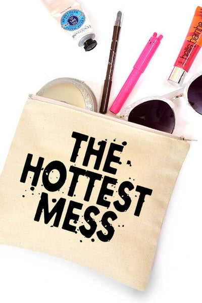 The Hottest Mess Makeup Pouch Beige/Black