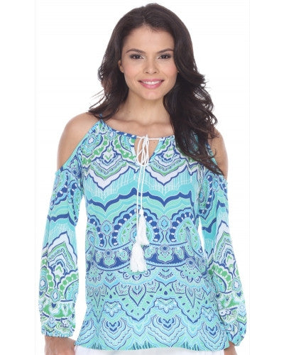Blue/Green Printed Long Sleeve Cold Shoulder Top