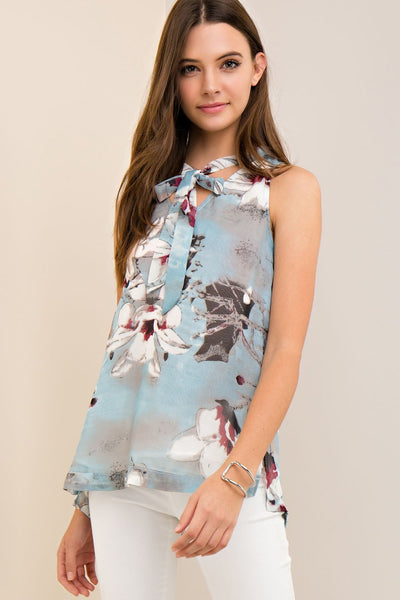 LAST CALL SIZE L | Sleeveless Floral Print Blouse with Neck Tie in Soft Blue