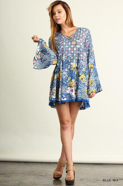 Floral Criss Cross Neck Bell Sleeve Tunic Dress in Blue Multi