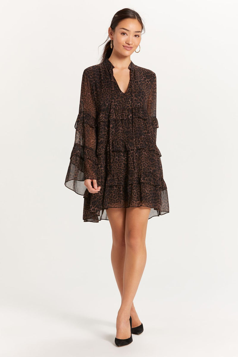 LAST CALL SIZE S | Leopard Print Tiered Ruffle Dress