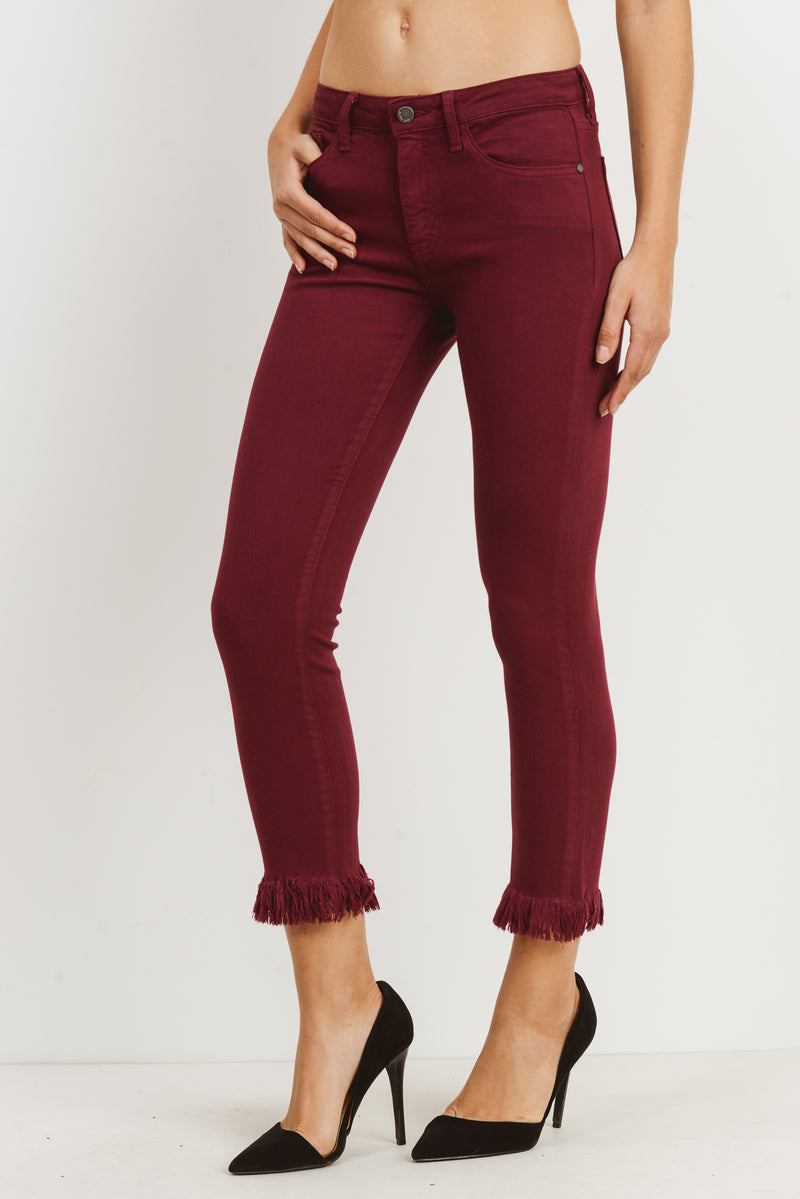 Skinny Cropped Jeans with Fringe Hem in Merlot