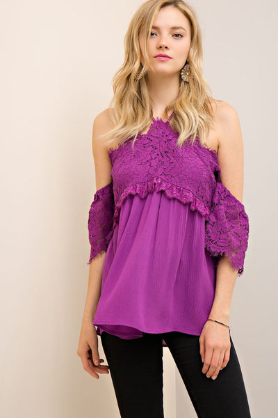 Lace Topped Off Shoulder Baby Doll Top