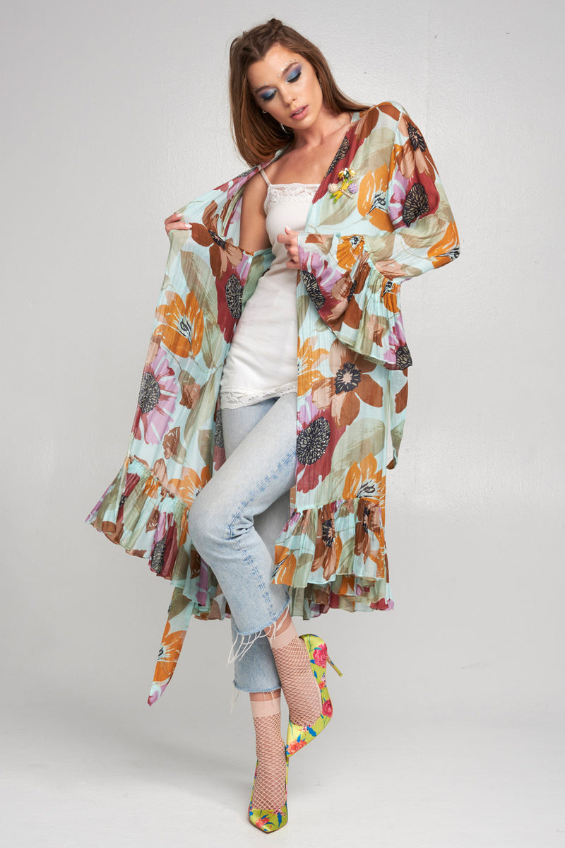 LAST CALL SIZE L | Floral Bell Sleeve Kimono