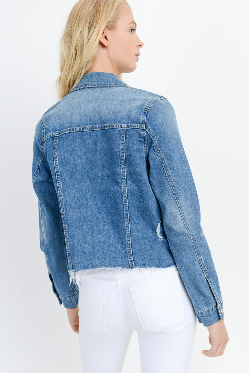Fray Hem Denim Jacket