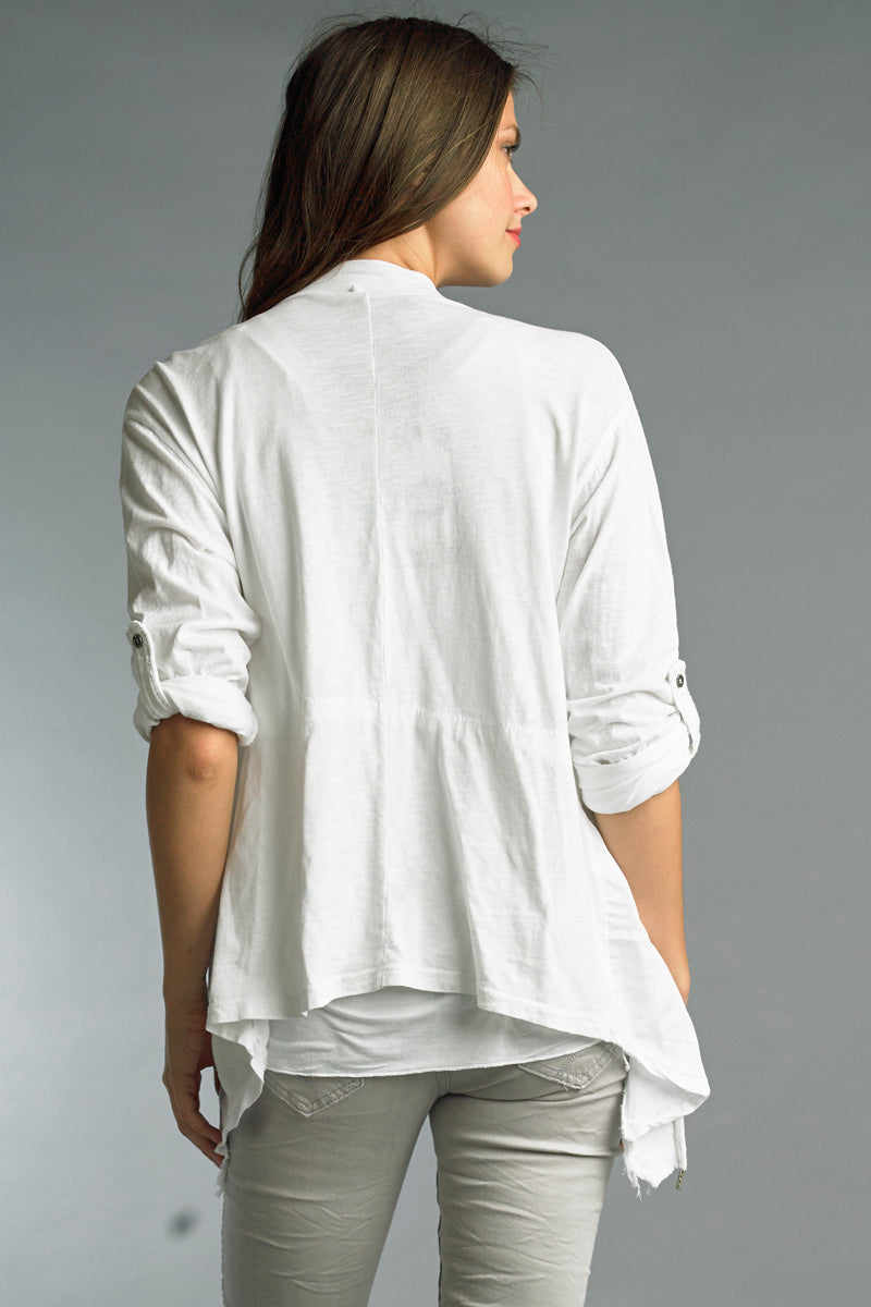 LAST CALL SIZE L | Drawstring Open Front Cotton Jacket in White