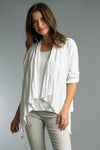 Drawstring Open Front Cotton Jacket in White