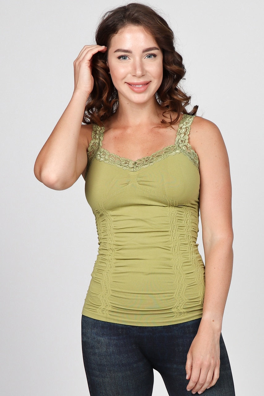 Ruched Corset Cami with Lace in Green Olive