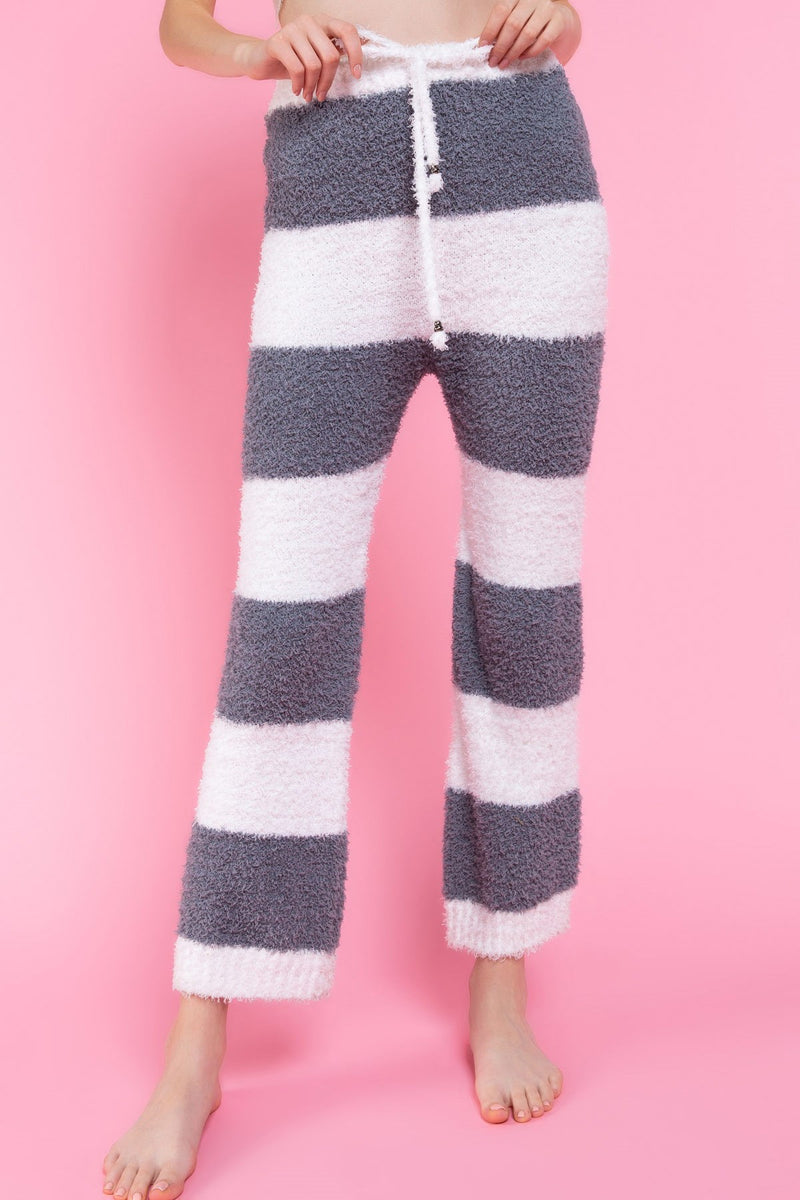 Berber Fleece Grey Stripe Pants