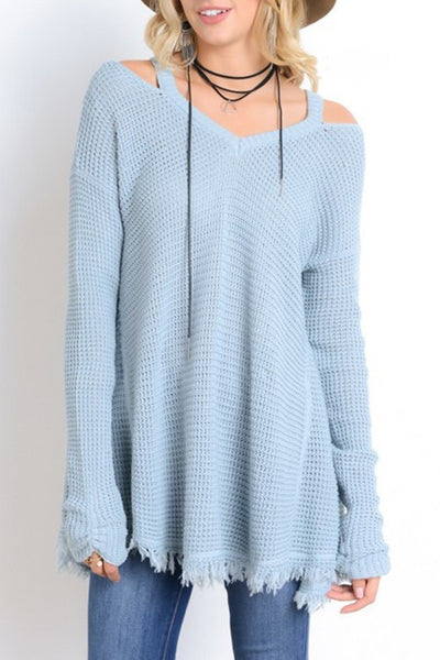 Long Sleeve Cold Shoulder Waffle Knit Tunic Top - Powder Blue