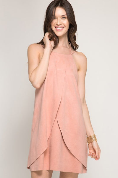 LAST CALL SIZE L | Sleeveless Suede Tulip Shift Dress in Dusty Rose