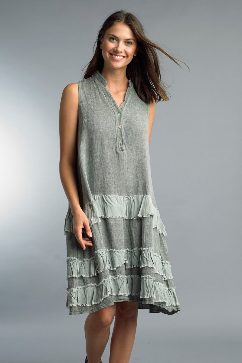 V-Neck Ruffle Tank Dress in Olive