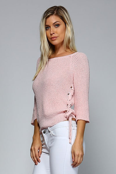 Spring Bloom Lightweight Lace-up Sweater in Blush